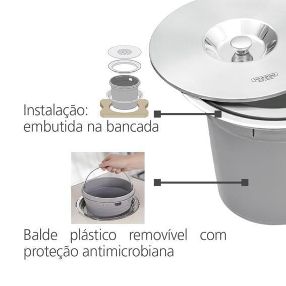 Lixeira de Embutir Tramontina Clean Round em Aço Inox com Balde Plástico 8 L
