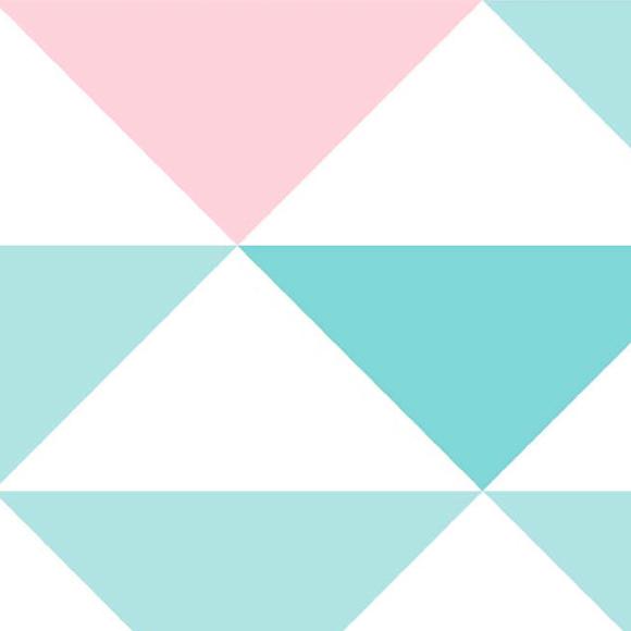 Papel de Parede Geométrico - Rosa e Verde - 3600