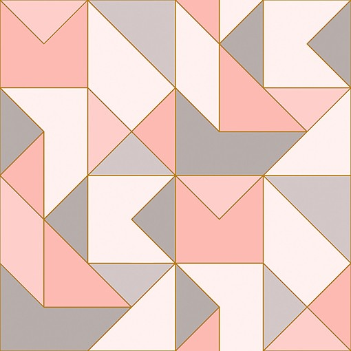 Papel de Parede Vinílico Contemporâneo Clássico Geométrico Rosa REF- 4107