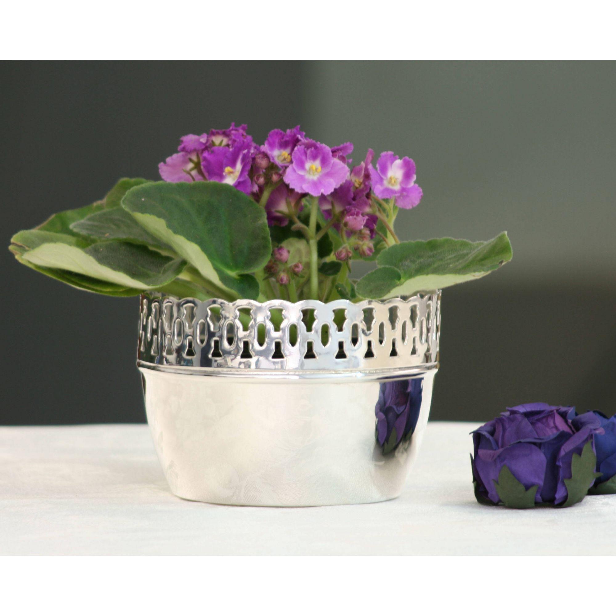 Cachepot violeta grade renda M