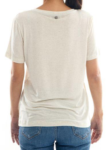 Camisa T-Shirt Linho Feminina Guanabara Gola C - Off-White -Bay