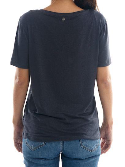 Camisa T-Shirt Linho Feminina BAY Guanabara Gola V - Cinza