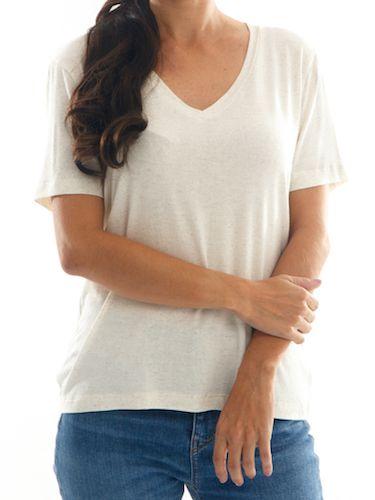 Camisa T-Shirt Linho Feminina BAY Guanabara Gola V  - Off-White