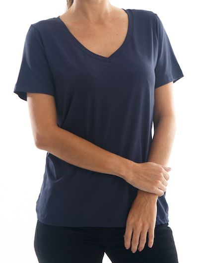 Camisa T-Shirt Premium Feminina BAY Santorini Gola V - Azul
