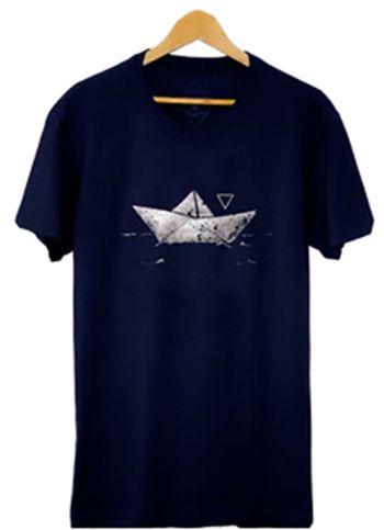 Camiseta Masculina em Malha Barcos - Azul marinho
