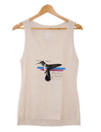 Camiseta Regata Feminina Maumas Colibri  - off-white