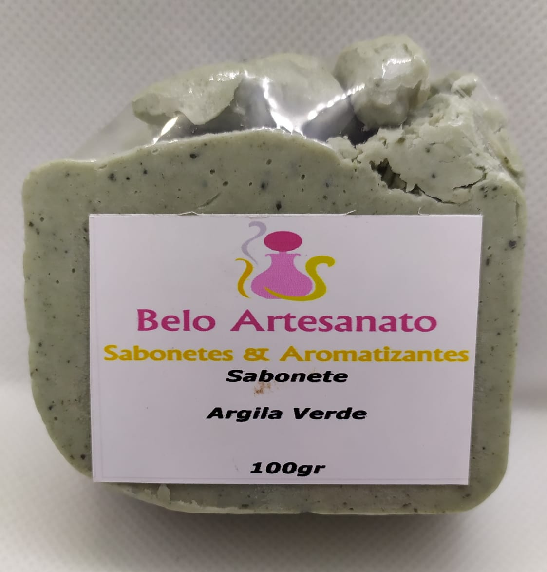 Sabonete de Argila Verde 100gr -Bactericida Fungicida Anti-inflamatório - Belo Artesanato