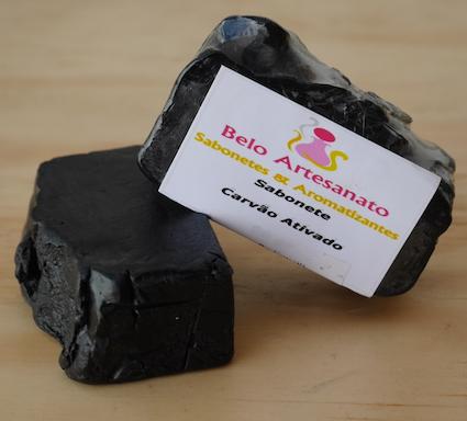 Sabonete de Carvão Ativado 80gr Tonificante Adstringente Clareador - Belo Artesanato