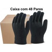 48 Pares Luva Tricotada Algodão Preta - Super Safety - Tam. Unico CA 32825