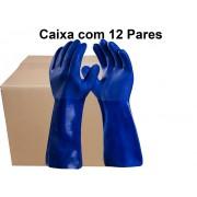 12 Pares de Luva Pvc Forrada Aspera 36 Cm - Super Safety- Ca 36581
