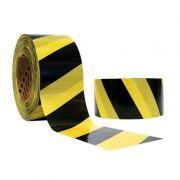 Fita Zebrada - Preto/Amarelo - 100Mts - Plastcor