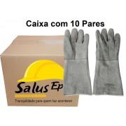 10 Pares de Luva de Raspa C/Reforço Palma Total - Suprema - Punho 20 cm - CA 15691