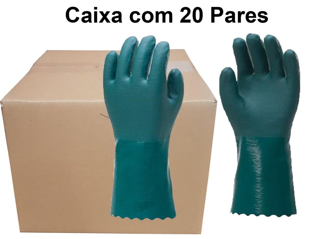 20 Pares de Luva PVC Forrada Aspera 26 Cm- Safex - CA 41460