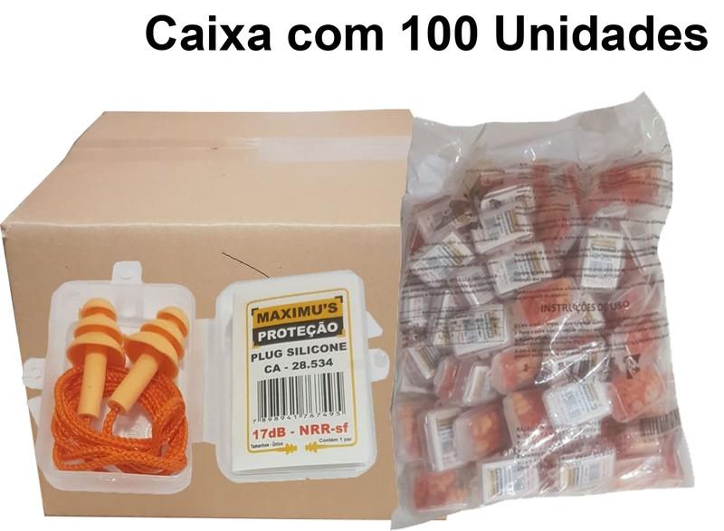 Caixa com 100 Un Plug Auricular Silicone Protect Quality 18Db Ca -28534