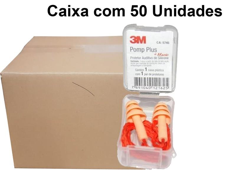 Caixa com 50 Un Plug Auricular Pomp Plus Silicone 3M- 18Db Ca -5745