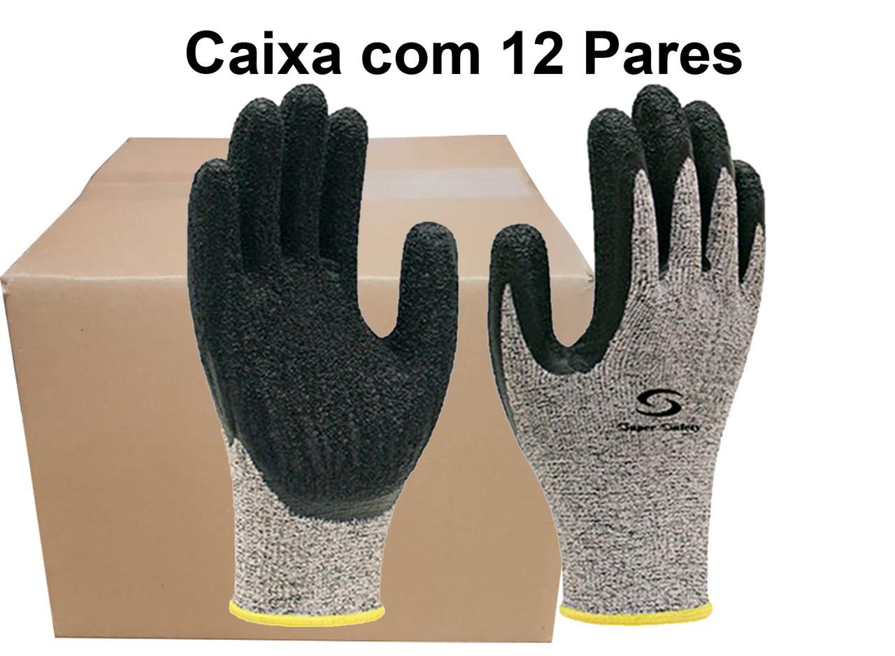 12 Pares de Luva Anticorte Cobertura Latex SS1010 - Super Safety - Tam.8(M) Ca 31896