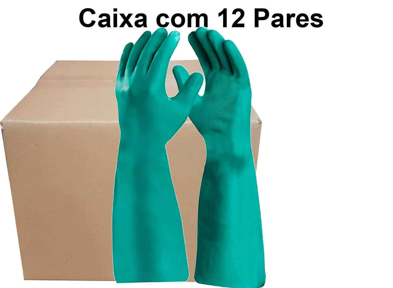 12 Pares de Luva Nitrilica Longa Nitrile Long - Super Safety - Ca 40506