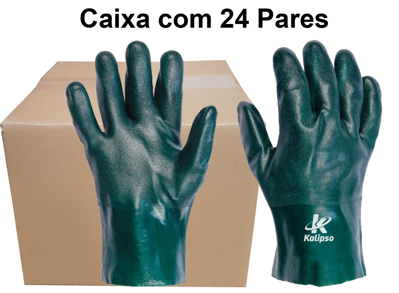 24 Pares de Luva Pvc Forrada Aspera 27Cm - Kalipso - Ca 21420