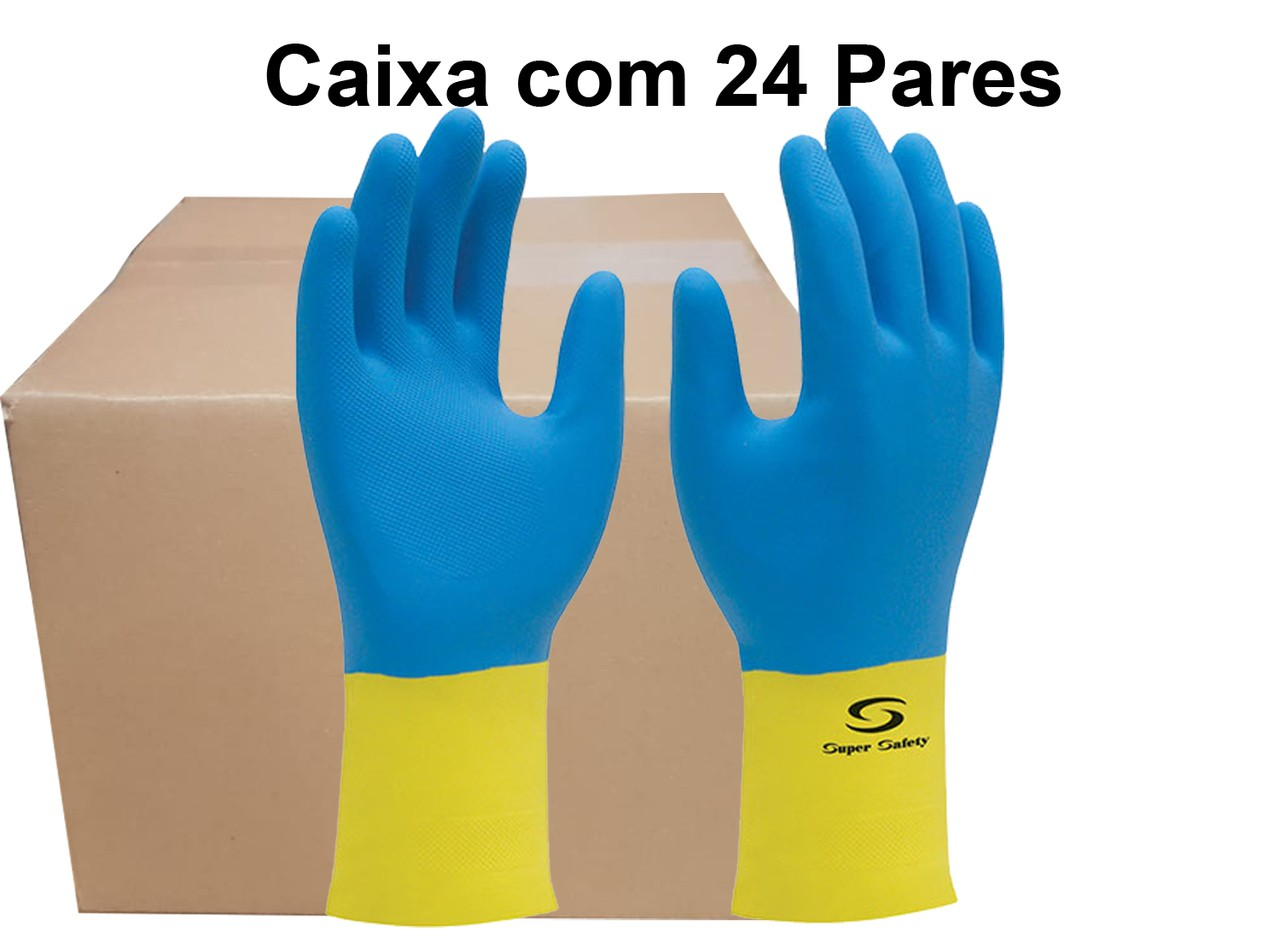 24 Pares Luva Látex Neopreme Supermix  - Super Safety - Ca 33333