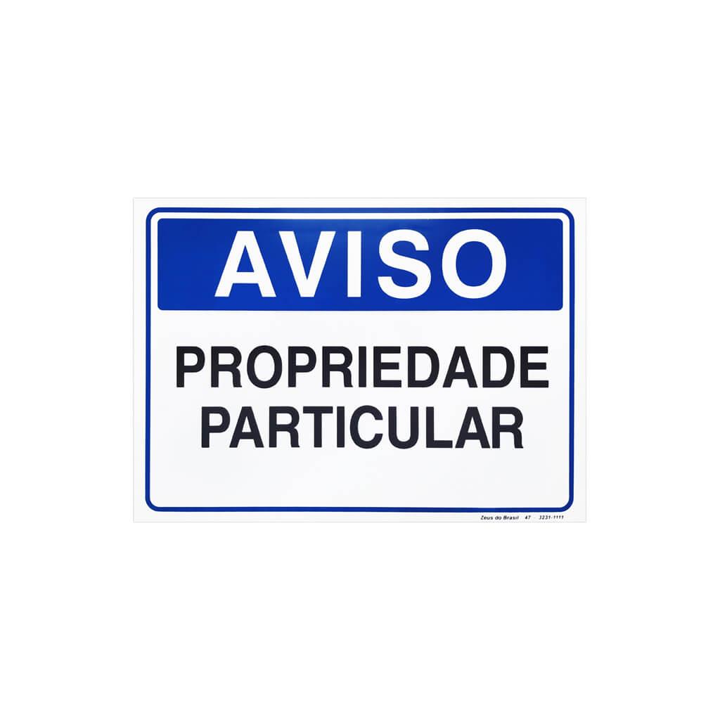 Placa Aviso Propriedade Particular 35X25Cm Pvc Rigido