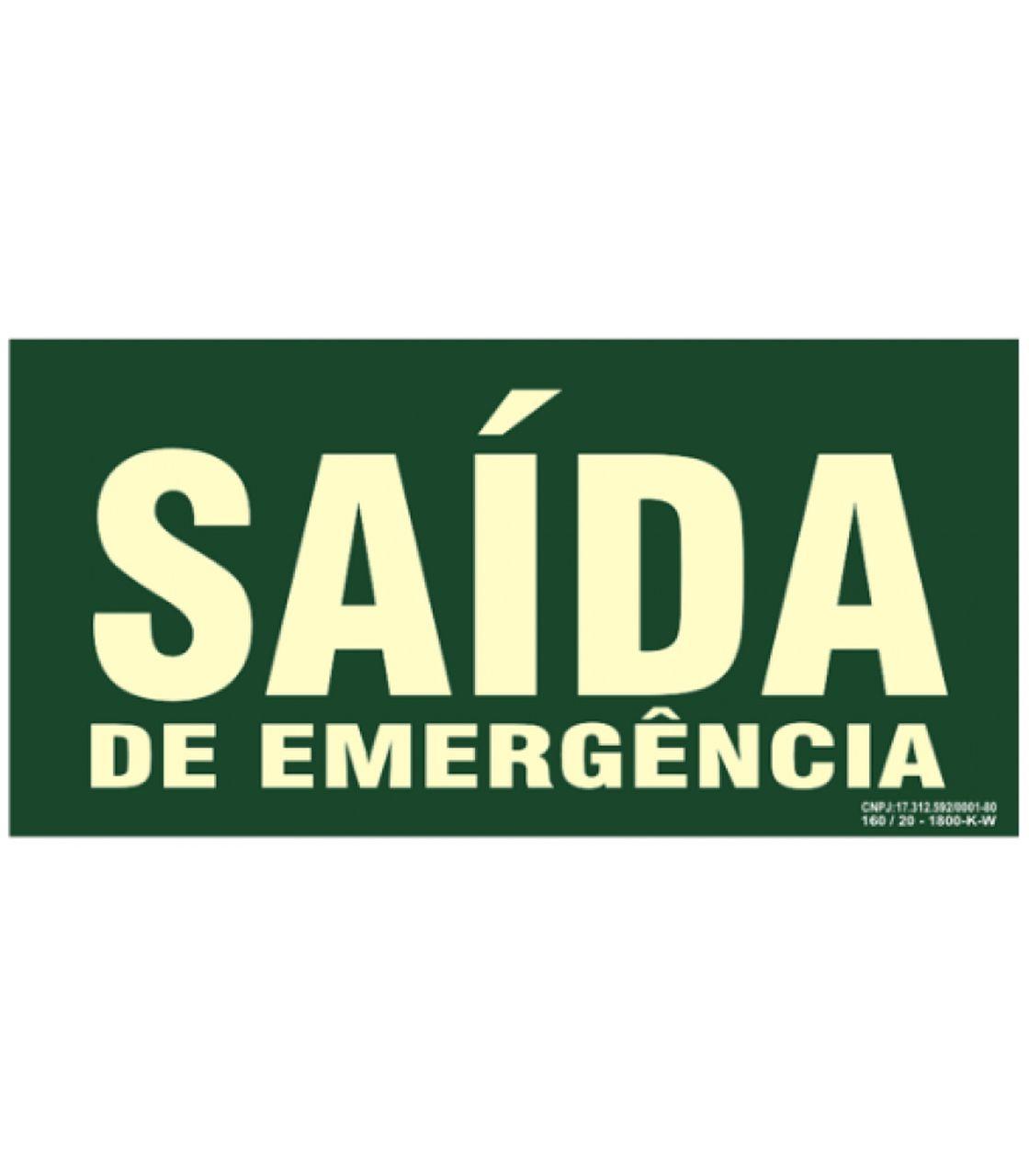 "Placa Fotoluminecente. ""Saida"" 240X120Mm (N) - S12"