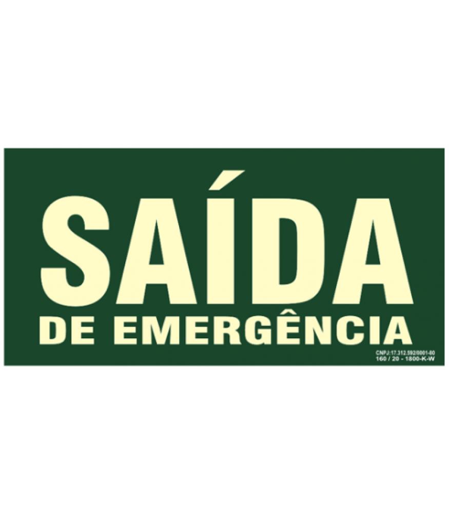 "Placa Fotolumininecente. ""Saida Emergencia"" 240X120Mm (N) - S22"