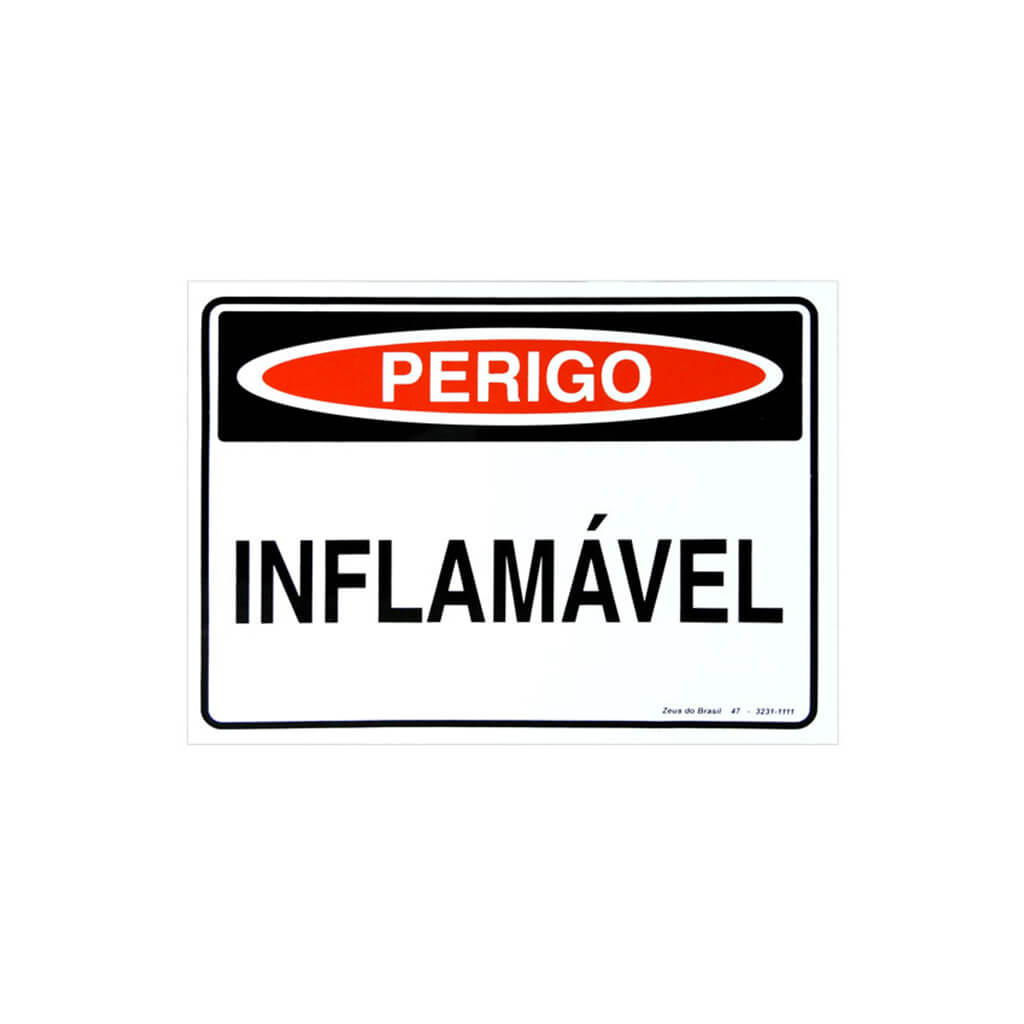 Placa Perigo Inflamavel 35X25Cm Pvc Rigido