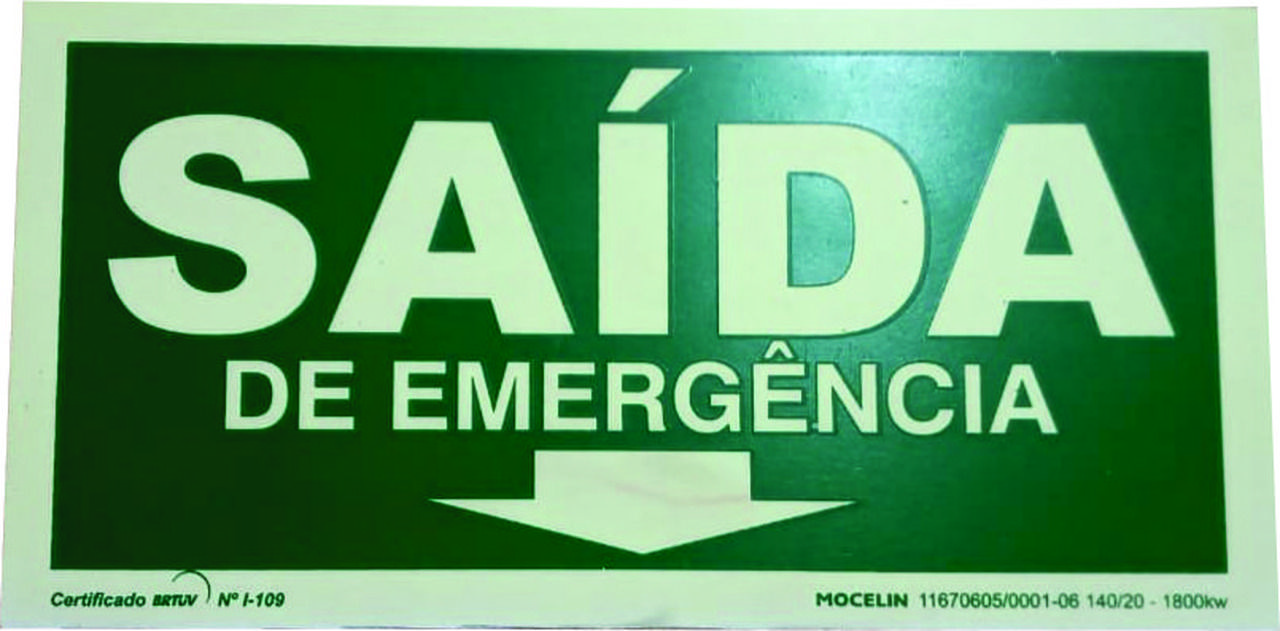 Placa Saida De Emergencia 15X30Cm Mocelin