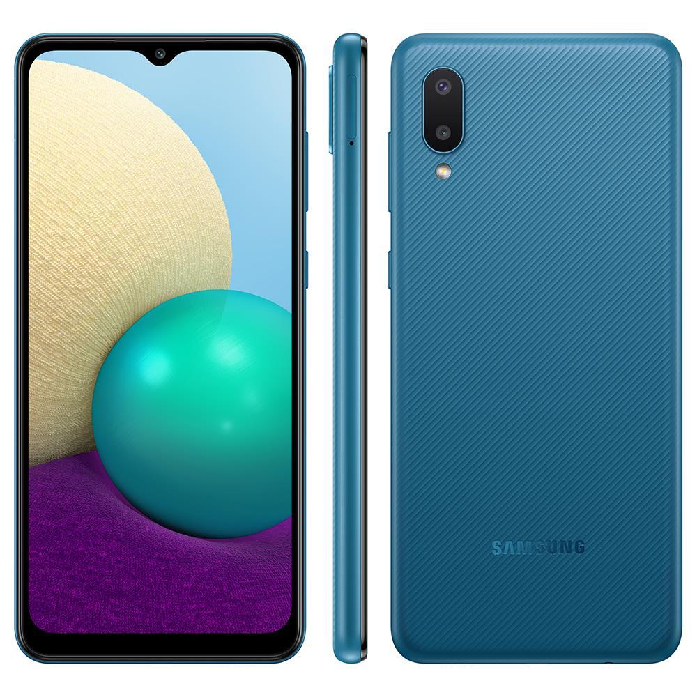 Smartphone Samsung Galaxy A02 32GB - Azul, 4G, Câmera Dupla 13MP + Selfie 5MP, Processador Octa-core, RAM 2GB, Tela 6.5