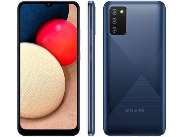 Smartphone Samsung Galaxy A02s 32GB - Azul, 4G, Câmera Tripla 13MP + Selfie 5MP, Processador Octa-core, RAM 3GB, Tela 6.5