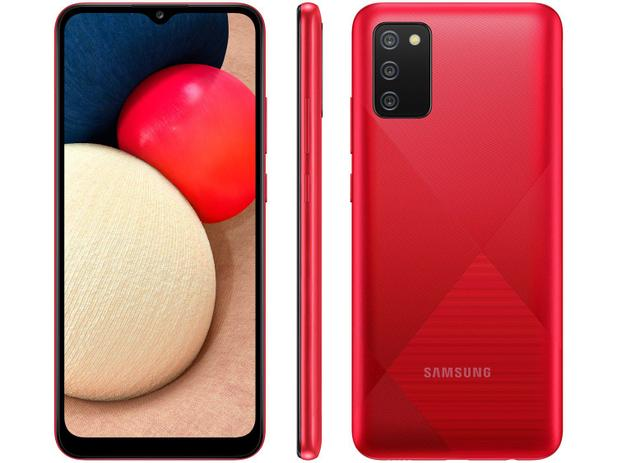 Smartphone Samsung Galaxy A02s 32GB - Vermelho, 4G, Câmera Tripla 13MP + Selfie 5MP, Processador Octa-core, RAM 3GB, Tela 6.5
