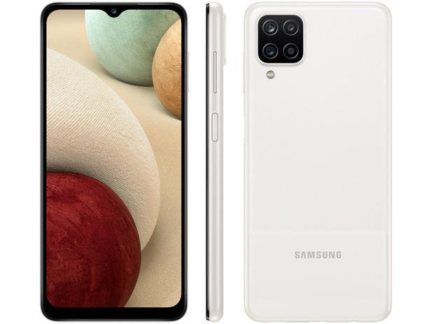Smartphone Samsung Galaxy A12 64 GB - Branco, 4G, Câmera Quadrupla 48MP + Selfie 8MP, Processador Octa-core, RAM 4GB, Tela 6.5