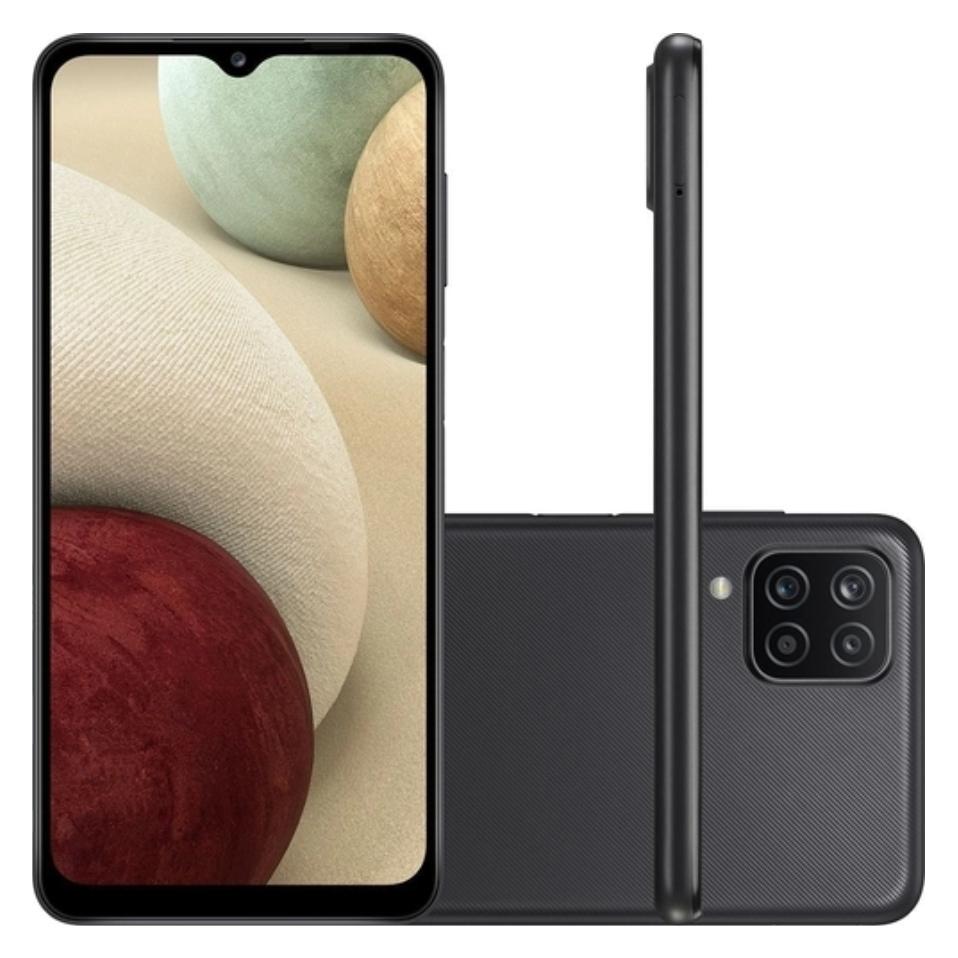 Smartphone Samsung Galaxy A12 64 GB - Preto, 4G, Câmera Quadrupla 48MP + Selfie 8MP, Processador Octa-core, RAM 4GB, Tela 6.5