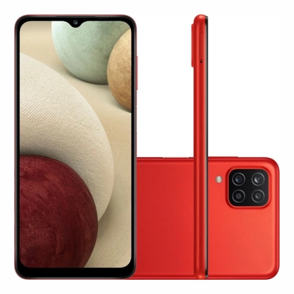 Smartphone Samsung Galaxy A12 64 GB - Vermelho, 4G, Câmera Quadrupla 48MP + Selfie 8MP, Processador Octa-core, RAM 4GB, Tela 6.5