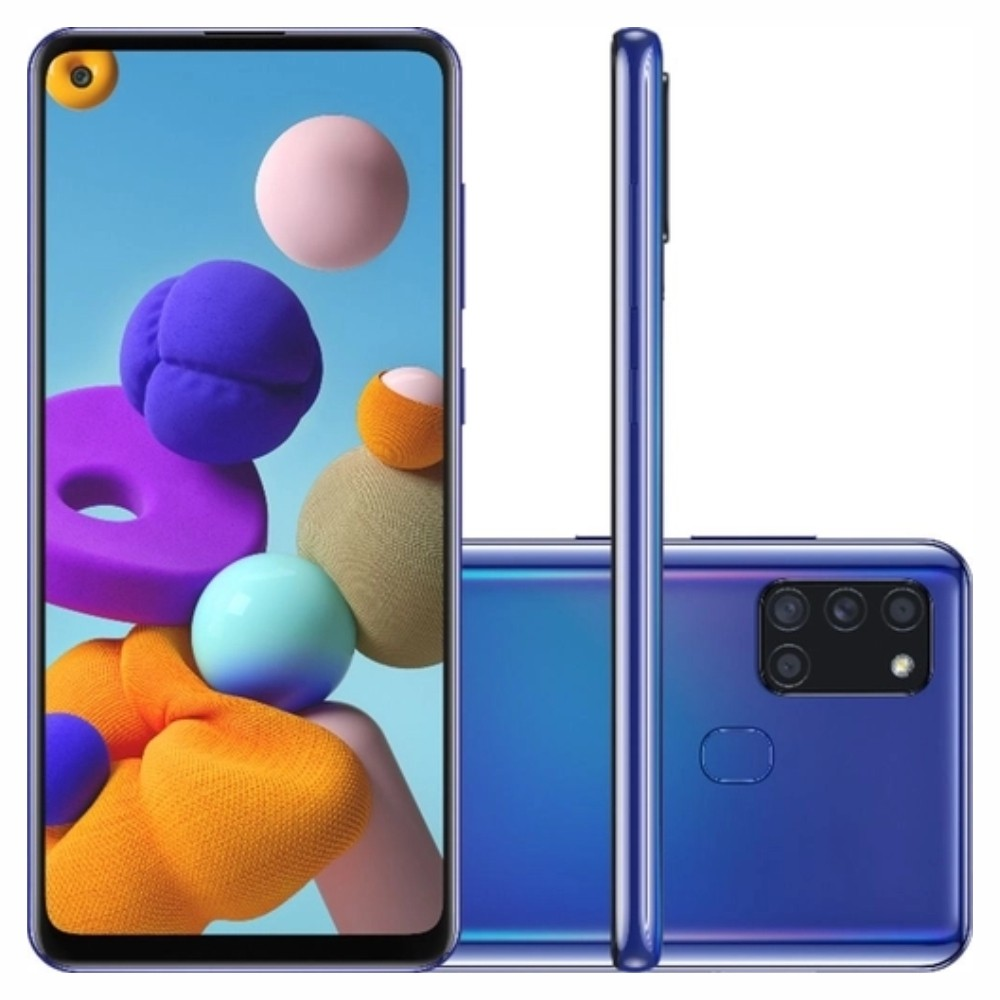 Smartphone Samsung Galaxy A21s 64 GB - Azul, 4G, Câmera Quadrupla 48MP + Selfie 13MP, RAM 4GB, Tela 6.5