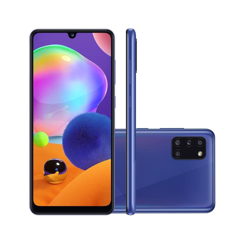 Smartphone Samsung Galaxy A31 128GB - Azul, 4G, Câmera Quadrupla 48MP + Selfie 20MP, RAM 4GB, Tela 6.4