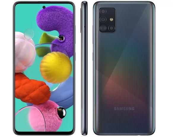 Smartphone Samsung Galaxy A51 128 GB - Preto, 4G, Câmera Quadrupla 48MP + Selfie 32MP, RAM 4GB, Tela 6.5