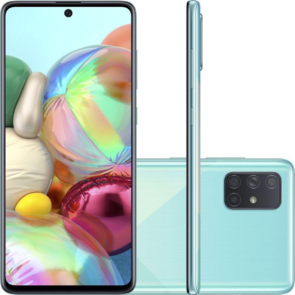 Smartphone Samsung Galaxy A71 128 GB - Azul, 4G, Câmera Quadrupla 64MP + Selfie 32MP, RAM 6GB, Tela 6.7