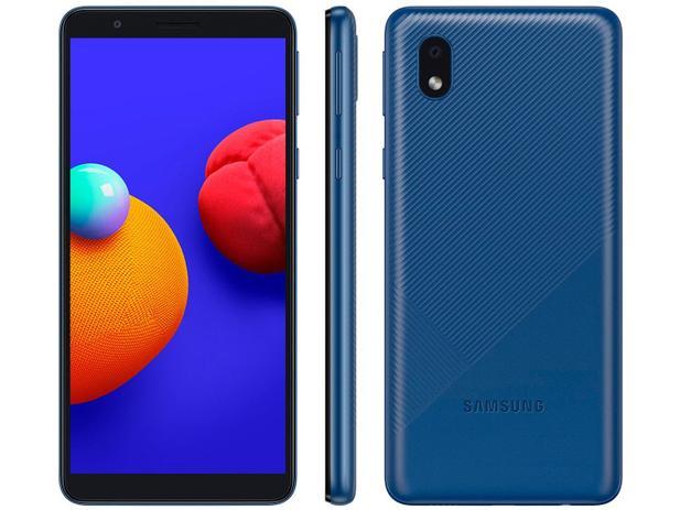 Smartphone Samsung Galaxy A01 Core 32GB - Azul, 4G, Câmera 8MP + Selfie 5MP, QuadCore, RAM 2GB, Tela 5.3
