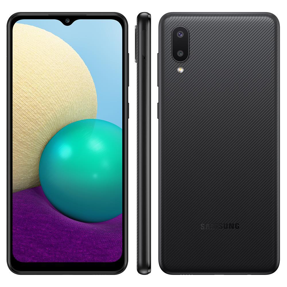 Smartphone Samsung Galaxy A02 32GB - Preto, 4G, Câmera Dupla 13MP + Selfie 5MP, Processador Octa-core, RAM 2GB, Tela 6.5