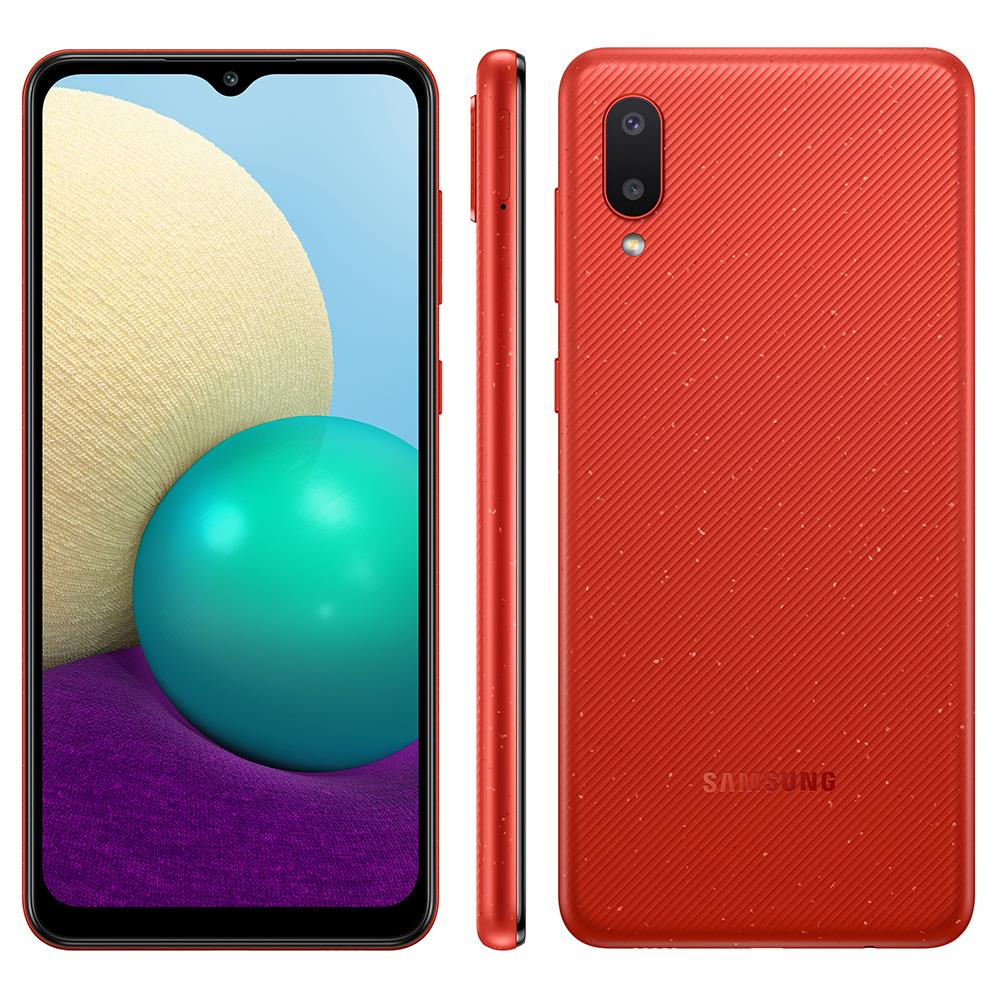 Smartphone Samsung Galaxy A02 32GB - Vermelho, 4G, Câmera Dupla 13MP + Selfie 5MP, Processador Octa-core, RAM 2GB, Tela 6.5