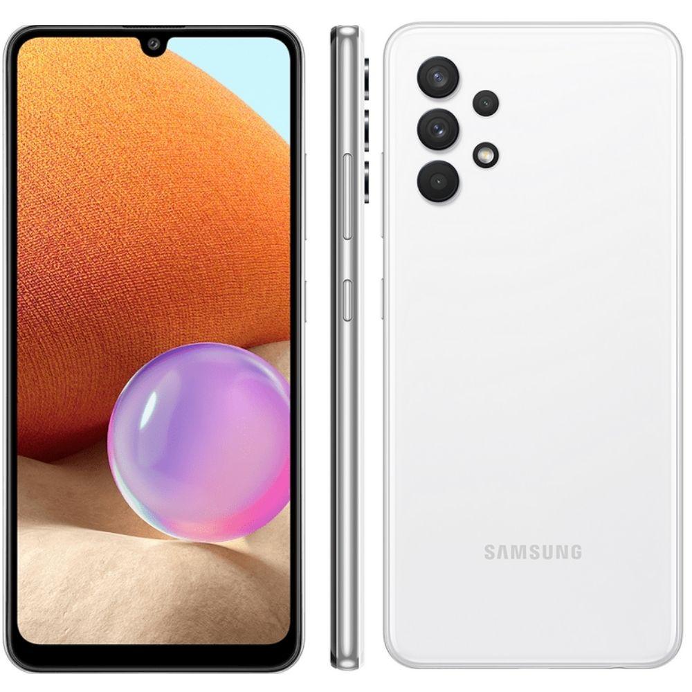 Smartphone Samsung Galaxy A32 128GB 4G - Branco, Câmera Quadrupla 64MP + Selfie 20MP, RAM 4GB, Tela 6.4