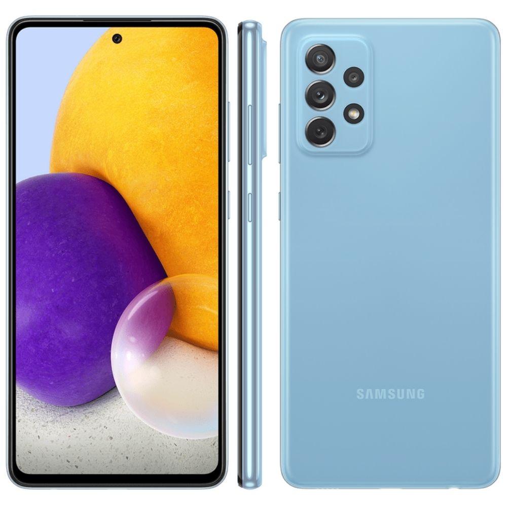Smartphone Samsung Galaxy A72 128 GB - Azul, 4G, Câmera Quadrupla 64MP + Selfie 32MP, RAM 6GB, Tela 6.7