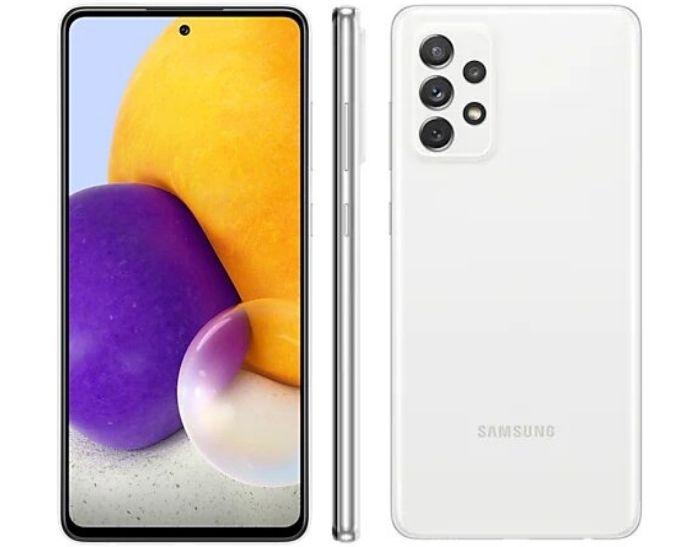 Smartphone Samsung Galaxy A72 128 GB - Branco, 4G, Câmera Quadrupla 64MP + Selfie 32MP, RAM 6GB, Tela 6.7