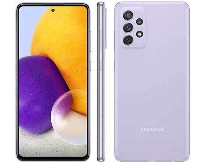 Smartphone Samsung Galaxy A72 128 GB - Violeta, 4G, Câmera Quadrupla 64MP + Selfie 32MP, RAM 6GB, Tela 6.7