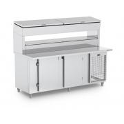 Balcão de Serviço Refrigerado Condimentador Tampo Estendido Duplo Refrimate - BSRCTED 1500