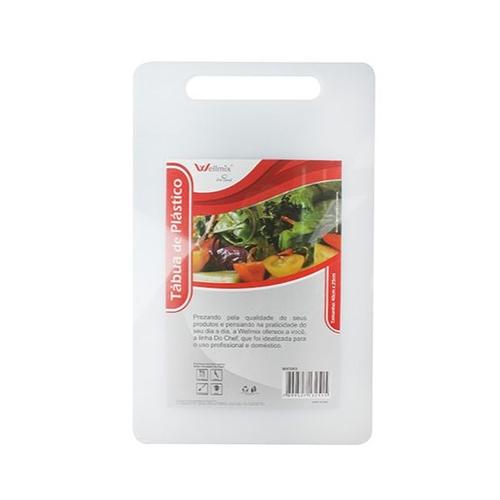 Tabua de Corte de Plástico Retangular Branco Pequena 33x20cm