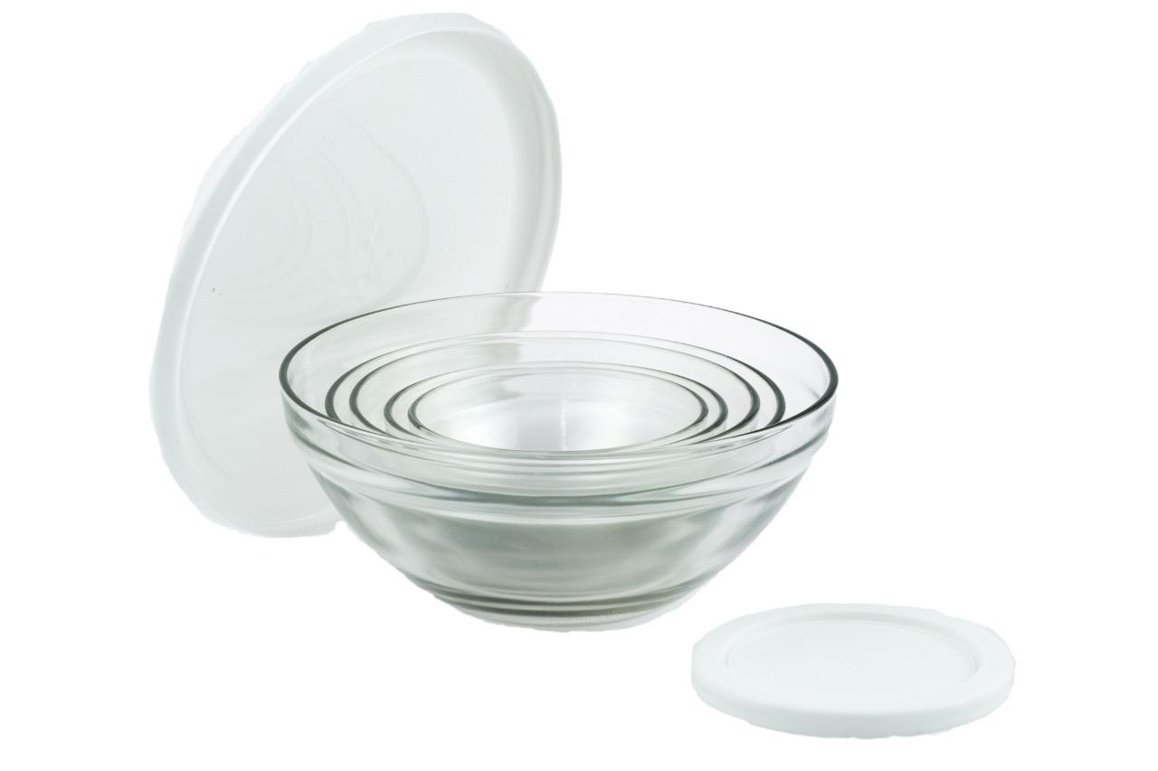 Conjunto de Potes de Vidro 5 Peças - Branco