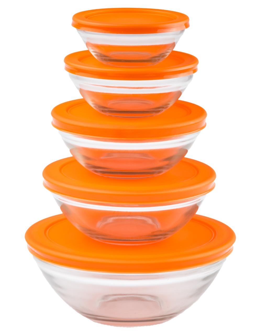 Conjunto de Potes de Vidro 5 Peças - Laranja