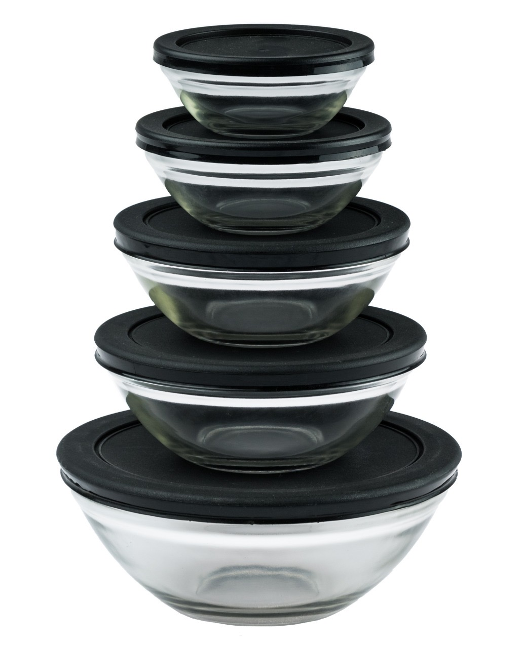 Conjunto de Potes de Vidro 5 Peças - Preto